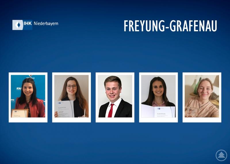 Unter anderem zählten (v.l.) Marina Breitenfellner, Sophia Friedl, Sebastian Gruber, Pia Sammer und Marie Vornehm zu den Prüfungsbesten aus dem Landkreis Freyung-Grafenau.