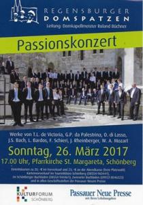 Passionskonzert mit den Regensburger Domspatzen | So, 26.03.2017 von 17:00 bis 19:00 Uhr