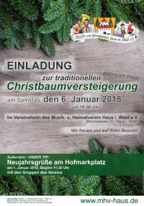 Christbaumversteigerung des Musik- und Heimatvereins Haus i. Wald | Sa, 06.01.2018 ab 19:00 Uhr