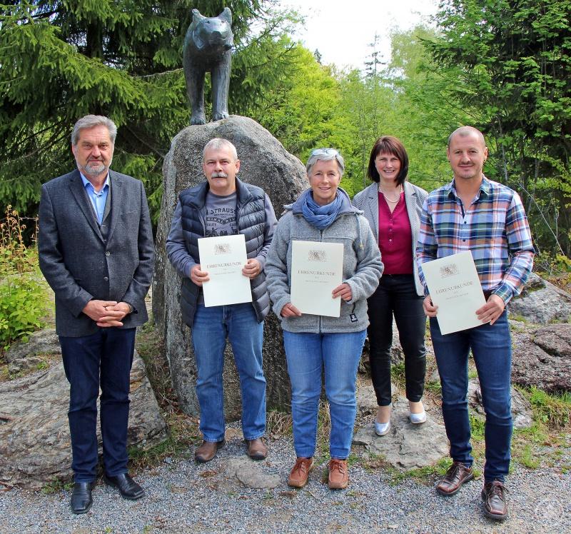 Nationalparkleiter Franz Leibl (von links) mit Wilfried Selwitschka, Christine Schopf, Susanne Hackl und Josef Nußhardt.