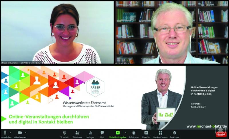 Ehrenamts-Ansprechpartnerin Maria Schneider und Vereinsberater Michael Blatz im Online-Seminar