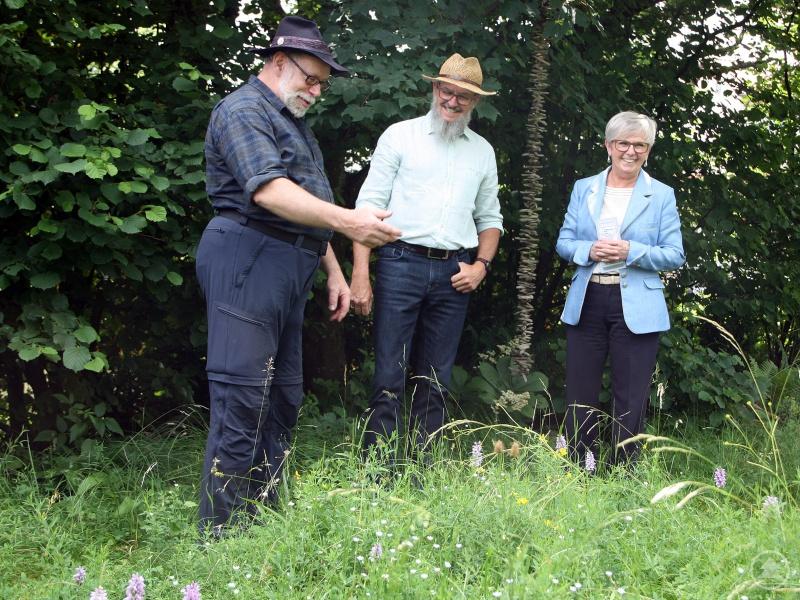 Karl Reitmeier zeigte Klaus Eder und Landrätin Rita Röhrl seinen Garten. Dabei präsentiere er mit dem gefleckten Knabenkraut eine Besonderheit in der Blühwiese.