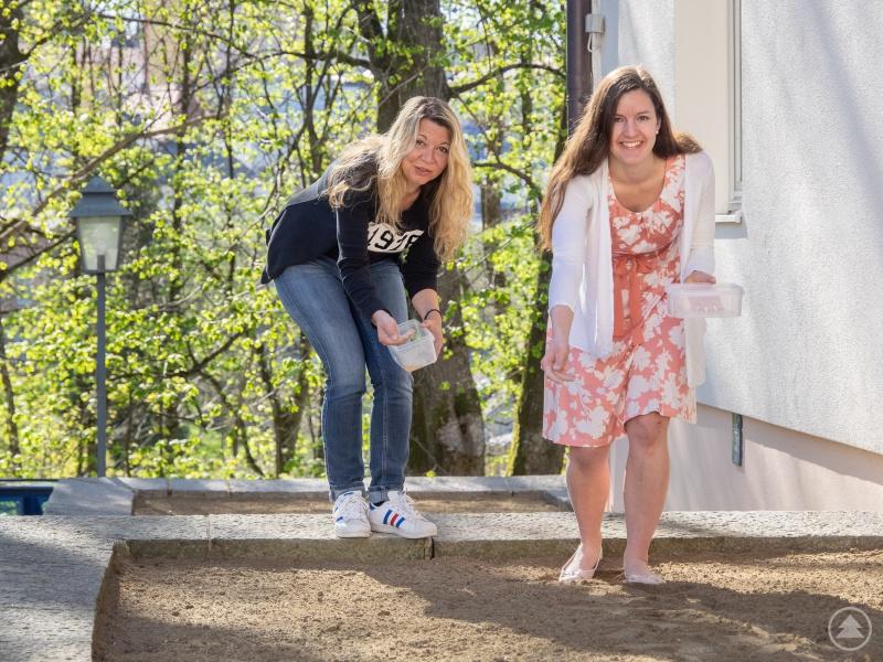 Architektin Susanne Bauer (links) und Klimaschutzmanagerin Verena Holzbauer säen an den frei gewordenen Flächen am Landratsamtsgebäude Wolfstein verschiedene Blühmischungen an.