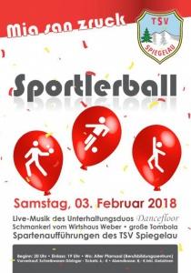 Sportlerball - TSV Spiegelau | Sa, 03.02.2018 von 20:00 bis 03:00 Uhr