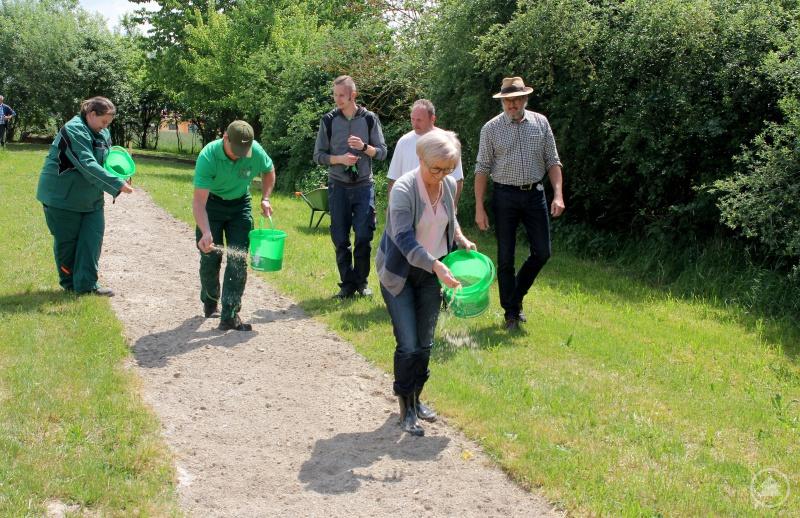 Die Landrätin Rita Röhrl sät voran, die Gärtner Nadine Ludwig und Bernhard Drexler säen mit. Gartenfachberater Klaus Eder, Tobias Hartl und Michael Hartl sind mitdabei.