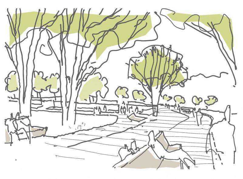 Perspektivskizze Promenade - Natur in der Stadt 2022