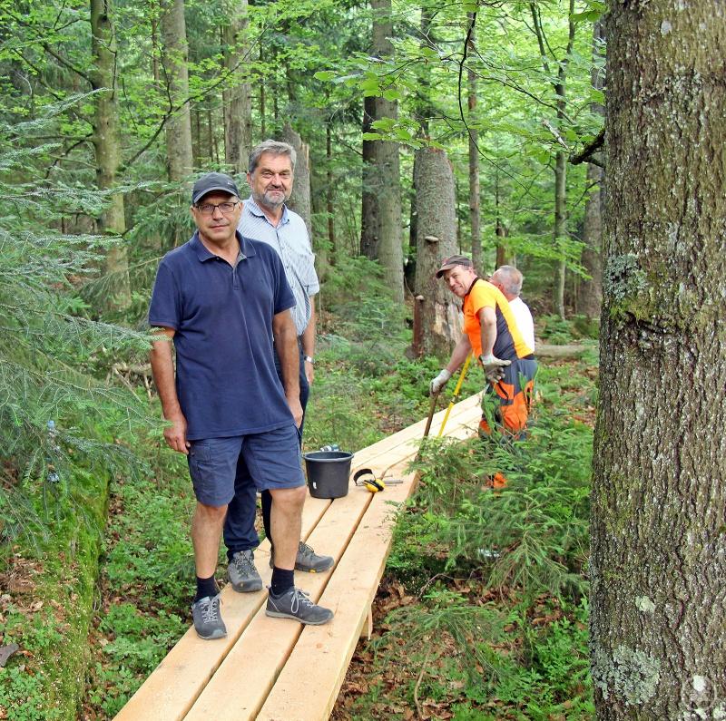 Nationalparkleiter Franz Leibl (von links) informierte sich bei Förster Werner Kaatz und dessen Team über die Baufortschritte am Seelensteig.