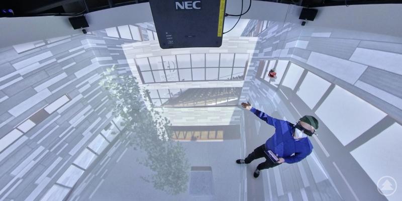 """Die TH Deggendorf thematisiert am 24. März das Thema """"Virtual Reality am Bau"""". Im Labor für neue Formen der Realität (360Grad-Raum) lassen sich vielfältige 3D-Lösungen abbilden."""