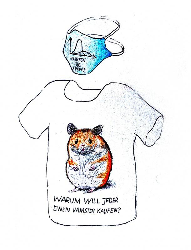 Hamsterkäufe von Samuel Kügler: Freche Shirt-Gestaltung zum Thema Hamsterkäufe