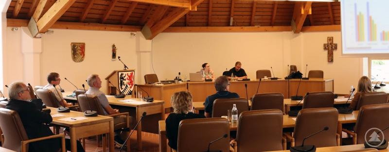 Die Teilnehmer des Treffens werden von der Projektkoordinatorin Laura Poost und dem zuständigen Sachgebietsleiter Karl Matschiner über die aktuelle Fallzahlentwicklung informiert.