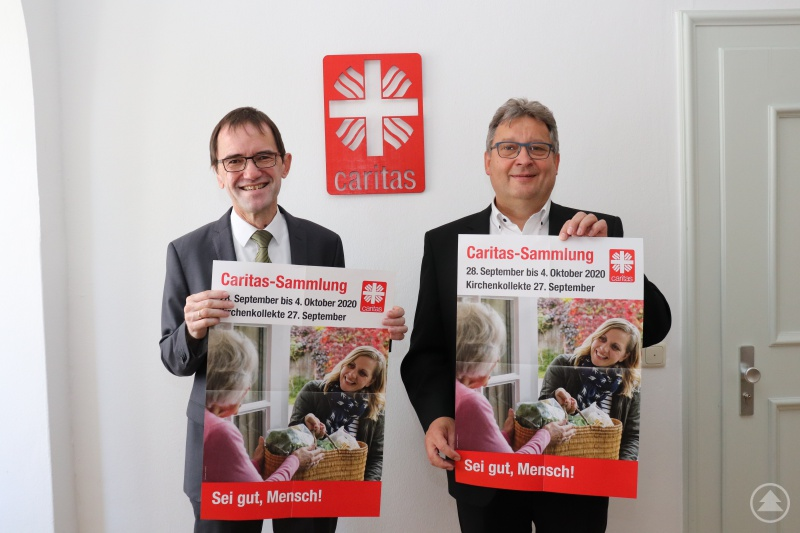 """Um der Not der Menschen begegnen zu können, rufen die Caritasvorstände Michael Endres und Diakon Konrad Niederländer zur Herbstsammlung auf. Sie steht unter dem Leitwort: """"Sei gut Mensch!""""."""