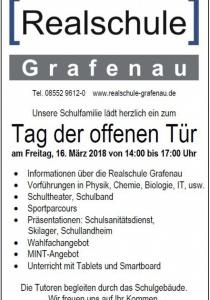 Tag der offenen Tür   Realschule Grafenau   Fr, 16.03.2018 von 14:00 bis 17:00 Uhr