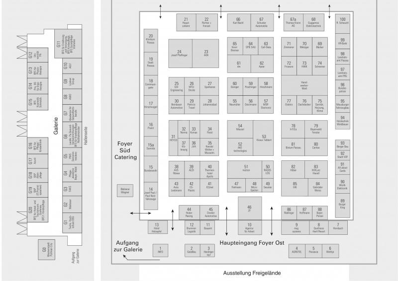 Hallenplan der 13. Ausbildungsmesse Passau 2020