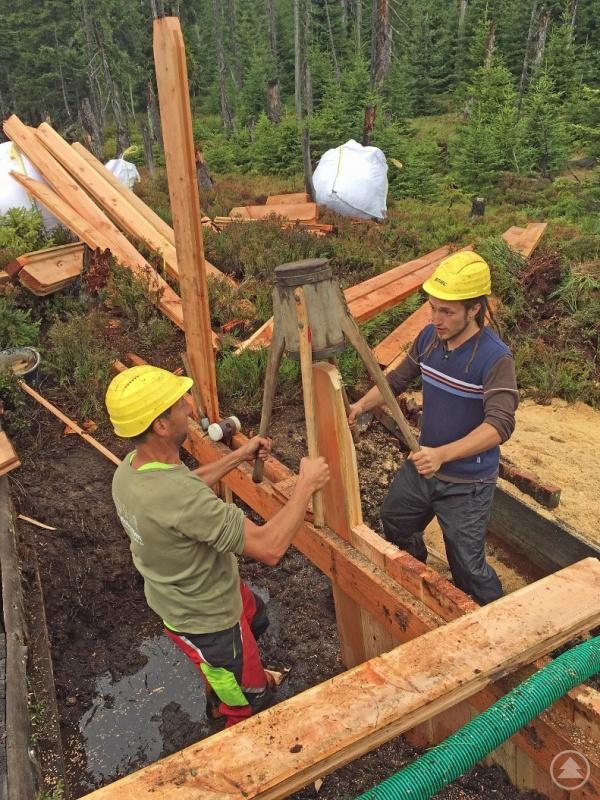 Aufgabe der freiwilligen Helfer ist es auch, Staudämme zu bauen.