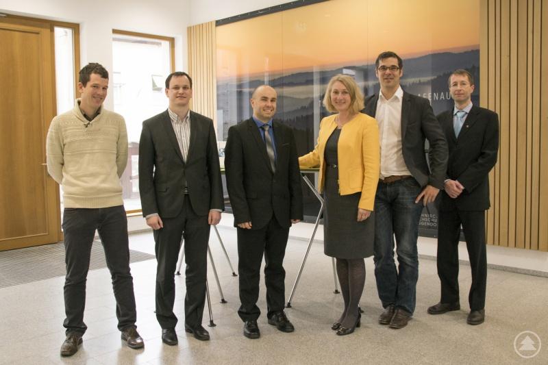 Die Delegation der Hochschule aus Budweis mit der Grafenauer Campusleiterin Diane Ahrens und Professor Benedikt Elser (Zweiter v. r.)