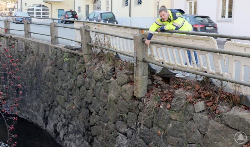 Alan McGee von der Dienststelle Straßen- und Brückenbau zeigt den Bereich, der saniert werden muss. Links unten ist der Beiderwiesbach zu sehen.