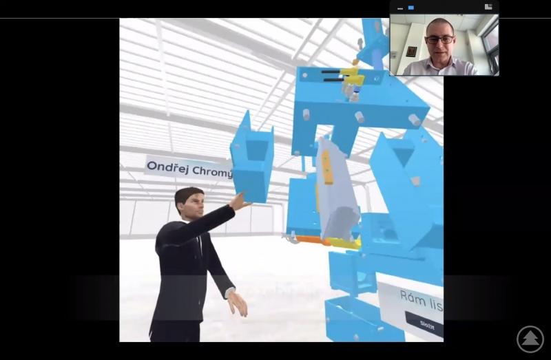 Leoš Kubíek zeigte den Teilnehmern Beispiele, wie virtuelle Realität in der Praxis genutzt werden kann. Hier etwa wird den Mitarbeitern die Funktionsweise und der Umgang mit einer neuen Maschine erklärt.