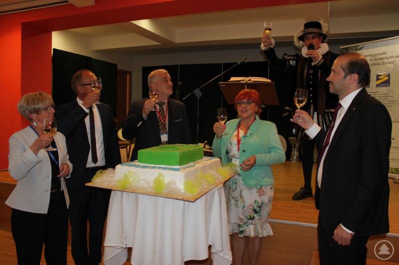 Zum Sektempfang mit Martin Malý, Bürgermeister der Stadt Prachatice.