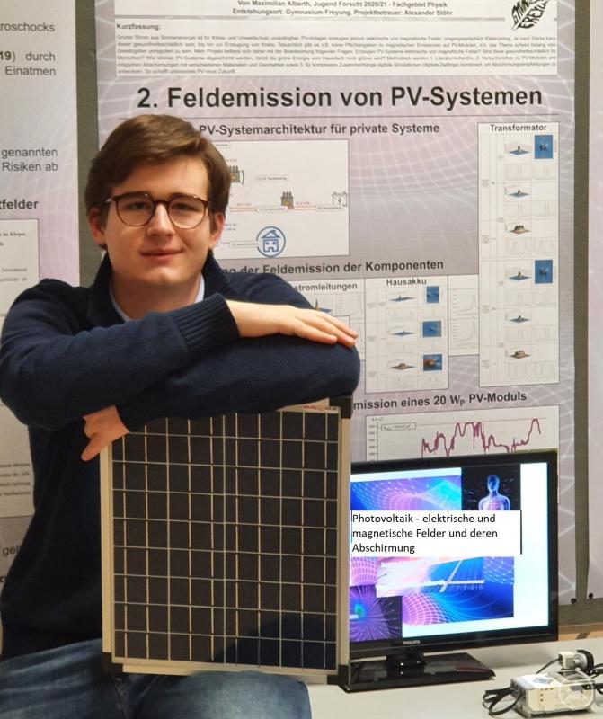 Maximilian Alberth, Regionalsieger Physik:  Photovoltaik – elektrische und magnetische Felder und deren Abschirmung