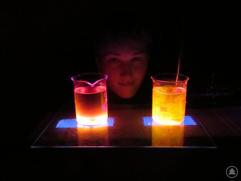 Leuchtendes Pausenprogramm: Ein Schüler präsentiert den Besuchern die Wirkung fluoreszierender Stoffe.