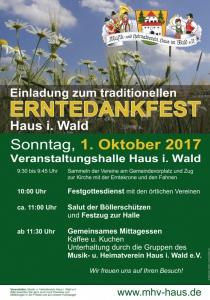 Erntedankfest Haus im Wald | So, 01.10.2017 von 09:30 bis 17:00 Uhr