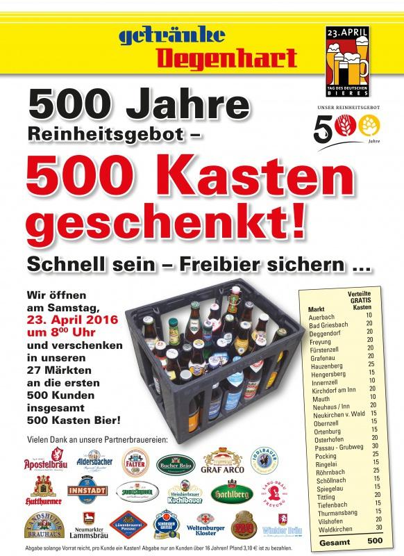 500 Jahre Reinheitsgebot – 500 Kasten geschenkt! am Sa, 23.04.2016 ...