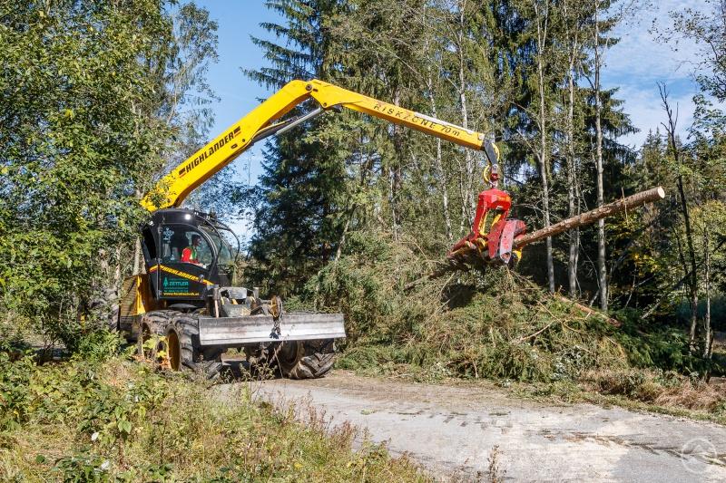Mit einem Harvester werden derzeit am Reschbach Fichten gefällt, um den Grau-Erlen mehr Platz und Licht zu verschaffen.