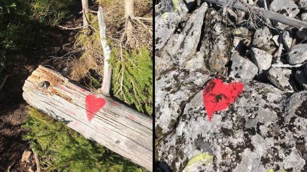Ein nicht markierter Pfad wurde unerlaubterweise mit einem roten Herz gekennzeichnet.