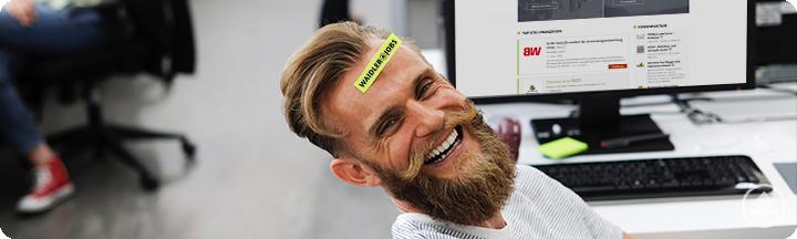 WAIDLER.JOBS - Lachender Mann mit Zettel auf Stirn. Aufschrift: WAIDLER.JOBS