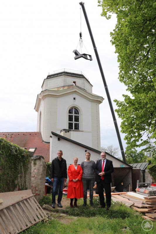 v.r.: Oberbürgermeister Jürgen Dupper besichtigt gemeinsam mit Projektleiter Michael Eggerstorfer (Eggerstorfer GmbH), Museumsleiterin Dr. Stefanie Buchhold und Hochbauamtsleiter Peter Kreutzer die Baustelle.