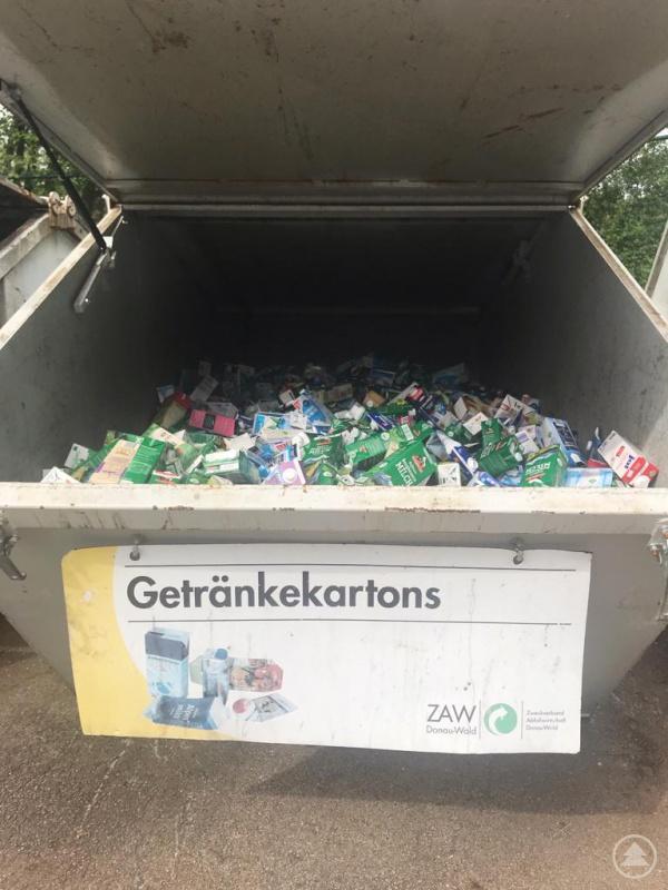 Müllcontainer mit Beschriftung und Beispielbild