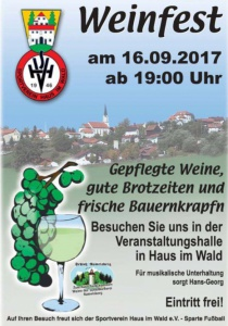 Weinfest Haus i. Wald 2017 | Sa, 16.09.2017 ab 19:00 Uhr