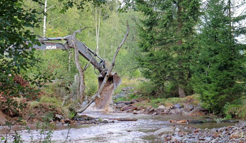 Mit Hilfe eines Baggers wurde das Flussbett des Reschbachs umgestaltet.