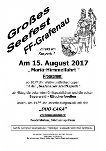 Seefest der Feuerwehr Grafenau   Di, 15.08.2017 ab 10:30 Uhr