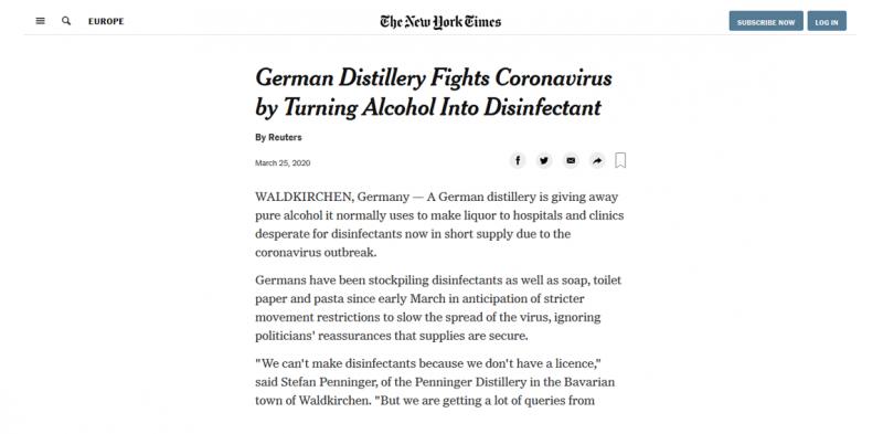 Die New York Times berichtet über die tolle Art der Zusammenarbeit zwischen Klinik und Brennerei im Bayerischen Wald.