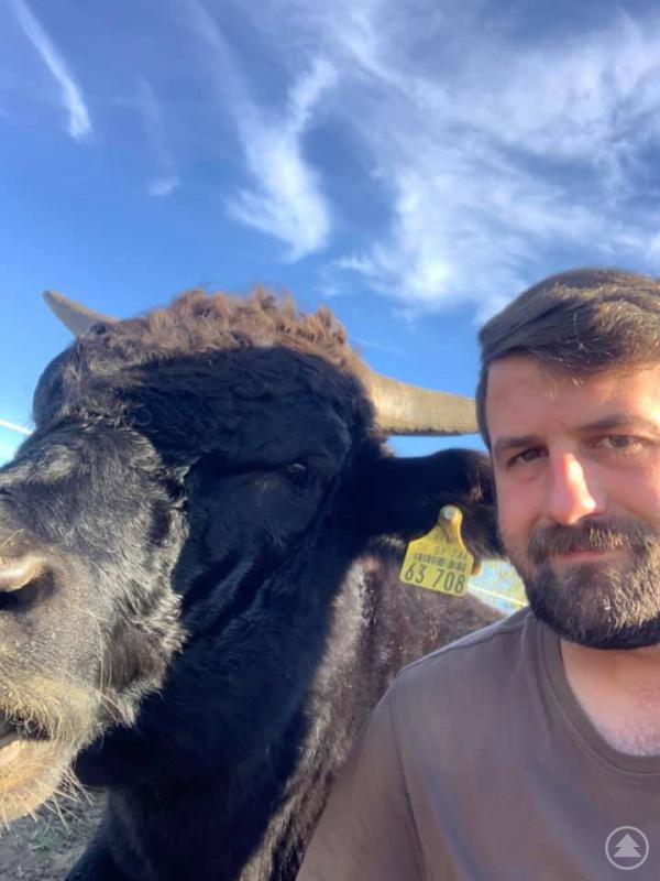 Florian Götz mit einem seiner Rinder.